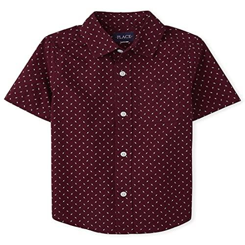 The Children's Place Boys' Dot Poplin Button Down Shirt, Redwood, XXL (16)