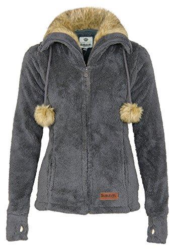 Sublevel Damen Teddy Fleecejacke mit Fell Kragen und Bommeln   Warme Flauschjacke mit weitem Kragen, Größe:L, Farbe:Dark Grey