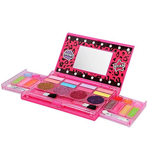 ColorBaby - Maquillaje infantil, maquillaje niñas, maquillaje para niños, estuche maquillaje infantil, maquillaje infantil no tóxico, con espejo, 18 brillos de labios, 8 sombras y 4 piceles (4