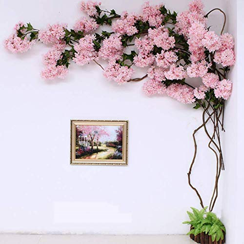 kaige Pink Cherry Blossom Flowers, Artificial Cherry Blossom Silk Flower Garland Pink Hanging Vine, Blossom Branches, Wedding, Party, Event, Xmas Holiday Deacute;cor WKY