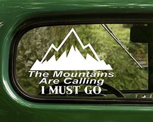 2 The Mountains are Calling I Must Go Nature White Decal Sticker for Window Car Truck Jeep Laptop Bumper Rv