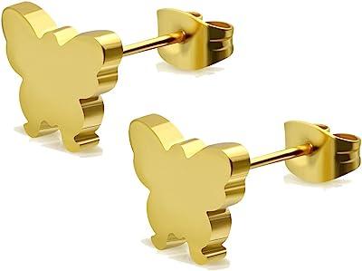 Pendientes de acero inoxidable dorado – mariposa – 6 x 7 mm