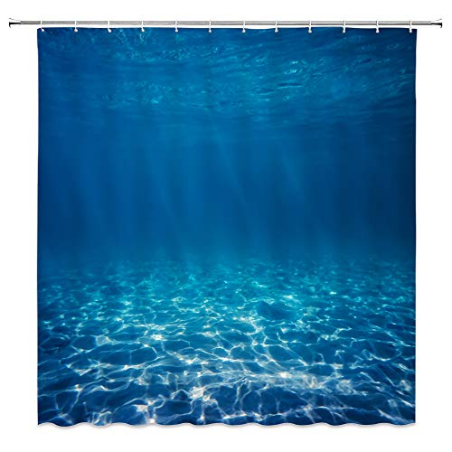 jingjiji Wave Shower Curtains Tropical Ocean Underwater Ripple Swimming Pool Landscape Hawaiian Summer Nautical Decor Bathroom Decoration Curtains Polyester Fabric Waterproof with Hook 70 X 70 Inch