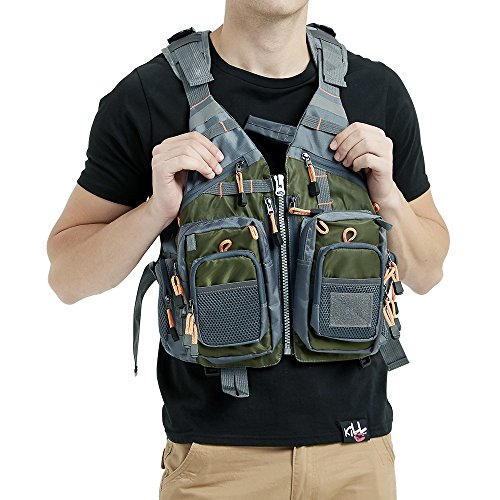Obcursco Fly Fishing Vest Pack Adjustable for Men and Women with Breathable Mesh, Trout Fishing Gear, for Outdoors Stream Fishing (Army Green)