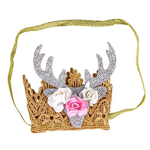 TOYANDONA Elastic Crown Headband Birthday Fawn Horn Headdress Photo Prop Fancy Dress Cosplay Decorative Hairband for Newborn Baby Infant Costume Supplies White