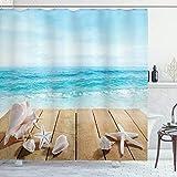 ABAKUHAUS Muscheln Duschvorhang, Sonnenschein Malediven Deck, Klare Farben aus Stoff inkl.12 Haken Farbfest Schimmel & Wasser Resistent, 175 x 180 cm, Sand BrownPale Brown Beige