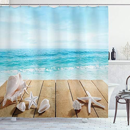 ABAKUHAUS schelpen Douchegordijn, Sunshine Maldives Deck, stoffen badkamerdecoratieset met haakjes, 175 x 220 cm, Bleke Bruin Beige