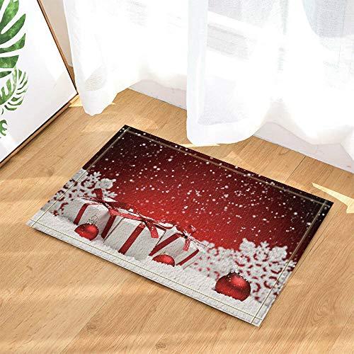/N Bolas navideñas y Cajas de Regalo en la Nieve Cortina de baño Tela de baño y 12 Ganchos