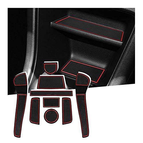 SHAOHAO für VW Up/SEAT MII/Skoda Citigo 2013+ Gummimatten, Mittelkonsole Antirutschmatten, Getränkehaltermatt, Türschlitzmatte Aufbewahrungsbox Rutschfestermatte(Rot)