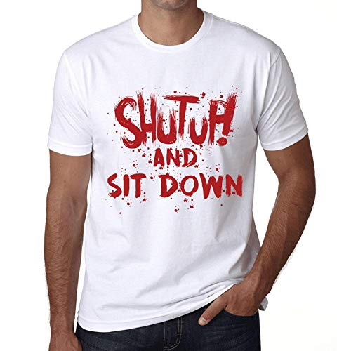 Hombre Camiseta Vintage T-Shirt Gráfico Shut Up and Sit Down Blanco