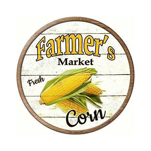Smart Blonde Farmers Market Corn Novelty Metal Circular Sign C-594