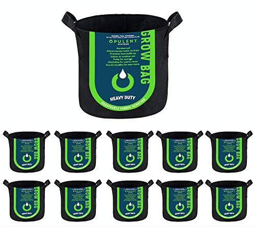 OPULENT SYSTEMS 10-Pack 1 Gallon Grow Bags Heavy Duty Thickened Nonwoven Fabric Containers for Potato/Plant Growing Pots with Handles (Black)