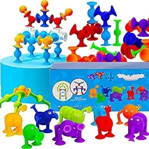 AISFA 新感覚知育ブロック 吸盤 おもちゃ 96セット 知育玩具 積み木 組み立て お風呂のおもちゃ オリジナル 誕生日 プレゼン DIY スクイグズ 6歳以上男の子 女の子