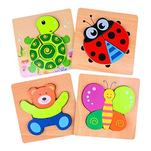 4 Piezas Puzzles de Madera de Animal Educativos para Bebé Rompecabezas de Formas Juguetes (4pcs Rompecabezas Animales)