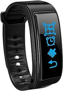 feeilty Fitness Tracker, Pulsera Inteligente 2 en 1 con Monitor de frecuencia cardíaca, Seguimiento de Actividad, con Auriculares Bluetooth