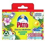 PATO® Discos Activos WC Jasmine Jump, Limpia y Desinfecta, Pack de 2 Recambios