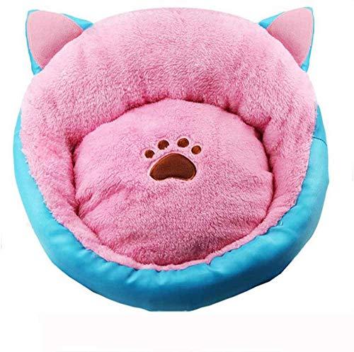 Nettes Hundebett Warmes Bequemes Haustier-Welpensofa, Abnehmbares Langlebiges Haustierkorb Weiche Gemütliche Zwinger-maschinenwaschbare Hundematratze,L:50x50cm-pink