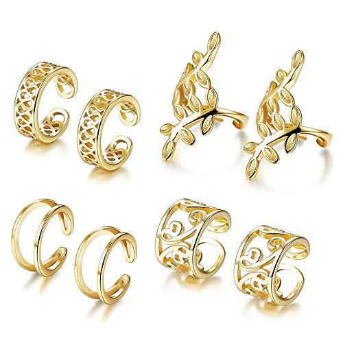 YADOCA 4 Paia Orecchini Clip per Donne Uomo Ear Cuff Set Orecchini Piercing Falso Clip Orecchio Orecchini Cartilagine Argento Oro