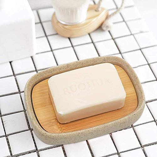 Summer-Spider Bamboo Lid oval Soap Dish, Resin Soap Holder, Self Draining Soap Saver, Soap Dish Tray for Bathroom, Sandstone Appearance(Beige)