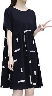 Fashion Women knee Length Short Sleeve Splicing Round Collar Dress
