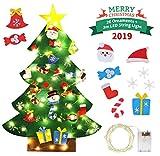 Idefair Árbol de Navidad de Fieltro DIY 26 Piezas de Adornos Desmontables con Luces de Cadena de 3,2 pies para Colgar en la Pared Decoraciones navideñas