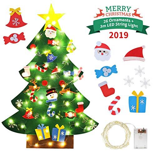 Idefair DIY Fühlte Weihnachtsbaum 26 stücke Abnehmbare Ornamente mit String Licht 3.2ft Wandbehang Weihnachtsschmuck Kinder Geschenk