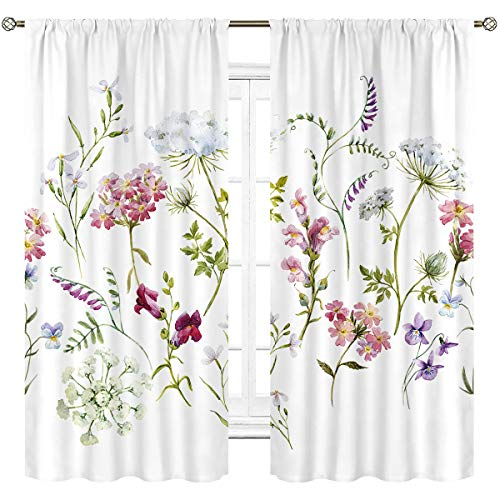 Cinbloo Herbs Floral Plants Curtains Rod Pocket Watercolor Wildflowers Delicate Pink Tansy Pansies Printed Living Room Bedroom Window Drapes Treatment Fabric 2 Panels 42 (W) x 63(L) Inch