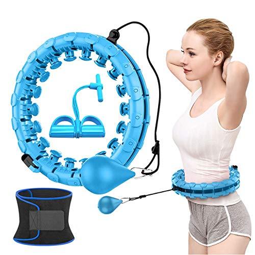 Smart Masaje Hula Hoopfitness Hoop Abdomen Ejercicio, 2 en 1 Abdomen Fitness y Masaje No Otoño Hula Ring con 24 nudos desmontables Peso ajustable Auto-Spinning Cinturón Pedal Tensioner (azul)