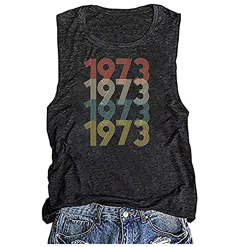 MARIJEE Blusa sin mangas para mujer, estilo informal, 48 años de aniversario, 1973, con estampado retro, para verano, informal, color negro, XXL