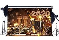 NiuXphoto ハッピーイヤー 2019 バックドロップ 10X8FT シャンパン ラッキーウィッシュ 馬蹄 ワイン バケツ ボケ スパンコール クリスマス ビニール 背景幕 写真 背景 お祝い 年生 写真スタジオ小道具 LL73