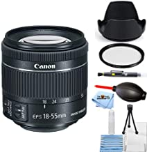 Canon EF-S 18-55mm f/4-5.6 is STM Lens (New in White Box) Starter Bundle with Tulip Hood Lens, UV Filter, Cleaning Pen, Blower, Microfiber Cloth and Cleaning Kit [International Version]