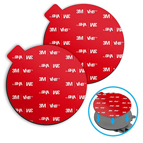 Sticky Adhesive for Dash Cam Suction Cup Mount, VOLPORT 2pcs 3M Circle Heat Resistant Double Sided Extra Strong Mounting Tape Pad Replacement for Car Boat Dashboard Windshield Camera GPS Sucker Holder