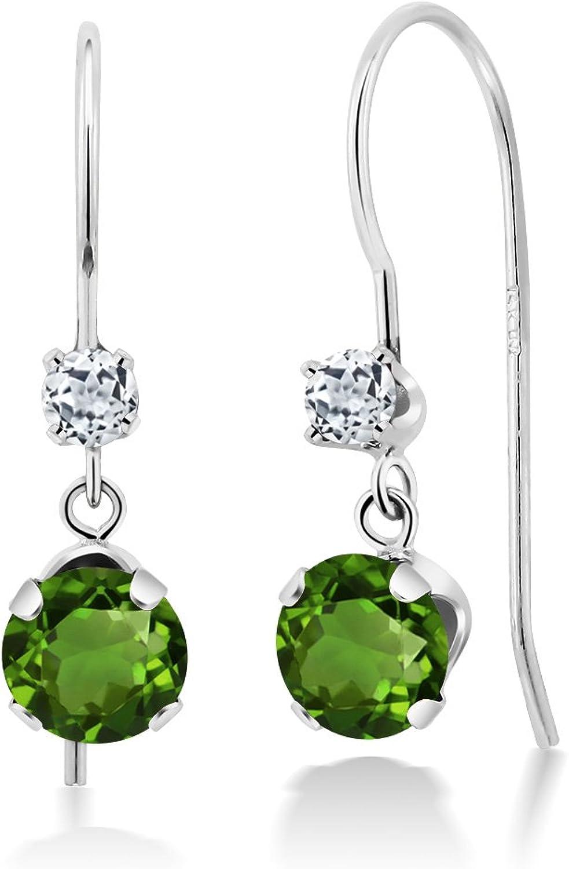 1.16 Ct Round Green Chrome Diopside White Topaz 14K White gold Earrings