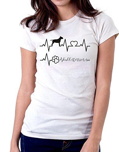 Tshirt Elettrocardiogramma Bull Terrier - I Love Bull Terrier - Cani - Dog - Love - Humor - Tshirt Simpatiche e Divertenti