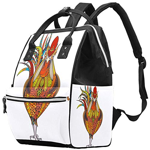 Grand sac à langer multifonction pour bébé, sac à dos, sac à dos, sac à dos de voyage pour maman et papa, coq aux Pays-Bas