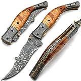 Coltello pieghevole, coltello da tasca, coltello fatto a mano su misura, coltello a lama in acciaio damasco, con fodero in pelle, coltello da cuoco artigianale, coltello da cucina forgiato a mano 8459