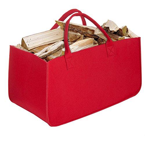 Bolsa de Fieltro, Diealles Chimenea Madera Cesta con Mango para Transportar Madera, Juguetes, Periódicos, Compras, 50 x 25 x 25 cm (Rojo)