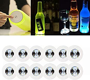 LOGUIDE LED Coaster,12 Pack Light Up Coasters,LED Bottle Lights,RGB Bottle Glorifier,LED Sticker Coaster Discs Light Up for Drinks,Flash Light Up Cup Coaster Flashing Shots Light  Cool-White