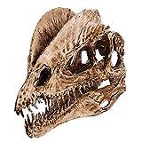 LIBAI Craneo de Diente de Dinosaurio Modelo de Esqueleto de ensenanza fosil Manualidades de Resina Craneo de Animal para Adornos de Acuario Decoracion del hogar,Decoracion de Halloween Dragon Doble