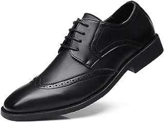 [goomix] ウィングチップシューズ メンズ ビジネスシューズ 革靴 カジュアル ウォーキング レースアップ 通学 通勤 黒 ブラウン/ブラック 24-27cm