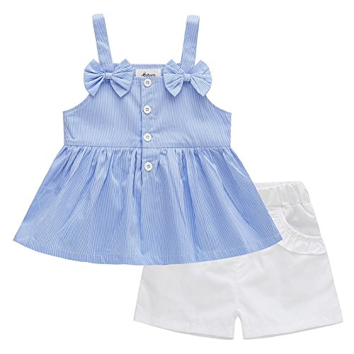 Baywell Baby Girls Summer Cute T-Shirt Skirt +Short Pants Outfits Set (S/2-3Y, Blue Stripe-1)
