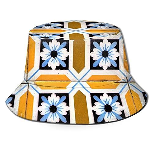 Portugiesischer Azulejos Doppel senf und blaue Blumen Sonnenhut Bucket Style Herren und Damen Faltbarer Fischer-Strandhut Sonnenschutz