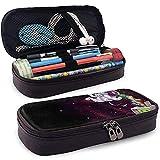 Estuche de lápices de cuero PU con cremallera, estuche marcador de almacenamiento de gran capacidad para astronautas Cat, estuche para lápices, bolsa de maquillaje