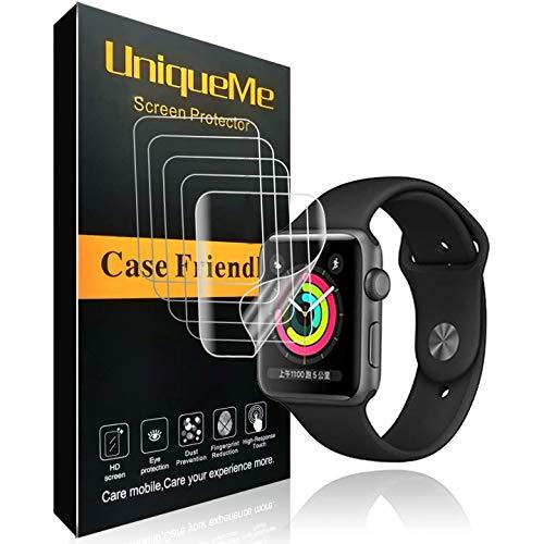 UniqueMe per Pellicola Protettiva Apple Watch 42mm (Series 3/2/1 Compatible), [5 Pezzi] [Bubble-Free] Liquid Skin HD Clear TPU Film Flessibile con Garanzia di Sostituzione a Vita
