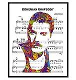 Freddie Mercury Poster - 8x10 Bohemian Rhapsody Poster - Freddie Mercury Merchandise - Queen Sheet Music - 80s Pop Music Gifts - Wall Art Decor