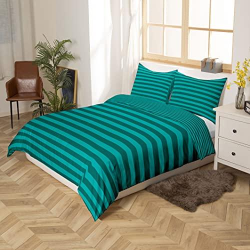 Juego de edredón de rayas verdes de color turquesa, edredón de tamaño king con rayas geométricas y líneas reversibles, juego de cama de granja con rayas horizontales, ligero y suave