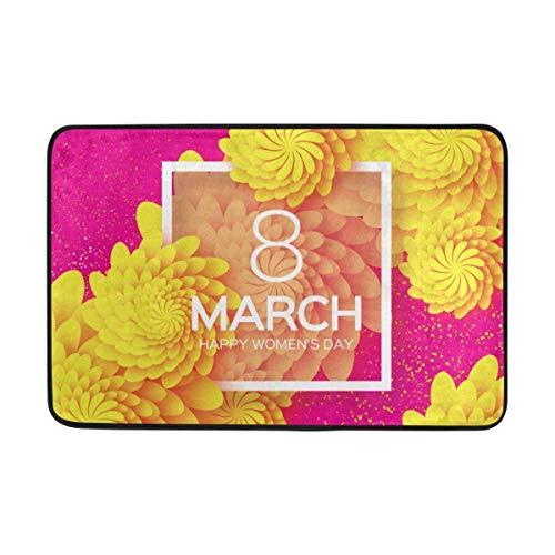 Zcfhike Fußmatten für Damen, Motiv: Happy Day March 8, Blumen, Fußmatte, Schuhschaber für Zuhause, Eingangsbereich, Haustür, 60 x 60 cm
