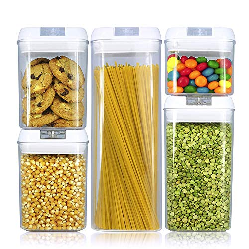 Airtight Food Storage Container Set with Easy Lock Lids, 5 Pieces BPA Free Plastic Cereal Containers for Kitchen Pantry…