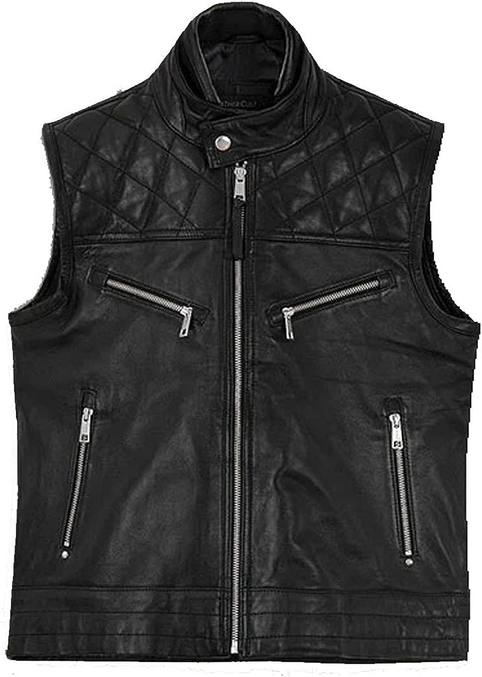 Men's Real Black Sheepskin Padded Leather Vest