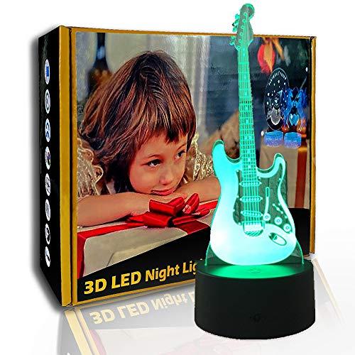 KangYD Guitarra creativa de luz nocturna 3D, lámpara de ilusión LED, lámpara de sueño, E- Base para despertador (7 colores), Regalo de cumpleaños, Regalo de Halloween